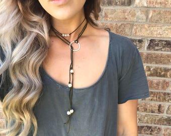 Suede Pearl Wrap Necklace