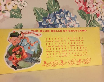 """Vintage """"the bluebells of scotland"""" song card"""
