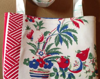 Bright Tote/Purse made from Vintage Tablecloth