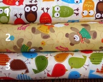 Bright Cute owl/Teddy bear/bird design fabric/ animal print fabric/ per fat quarter/per half meter/per meter/per fat quarter
