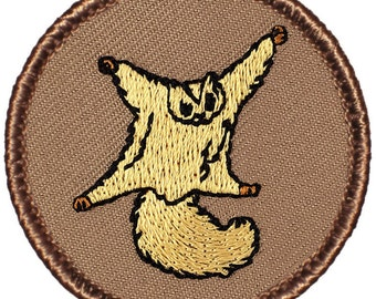 Flying Squirrel Patch (182) 2 Inch Diameter Embroidered Patch