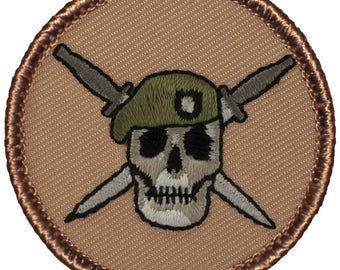 Green Beret Patch (411) 2 Inch Diameter Embroidered Patch