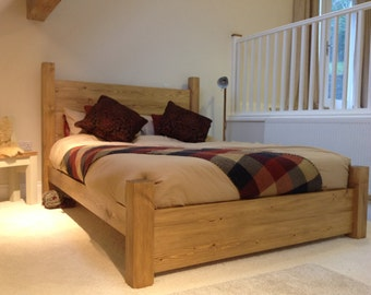 Handmade Rustic Pine Planked Solid Wood Bed