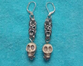 Byzantine Chainmail Skull Earrings