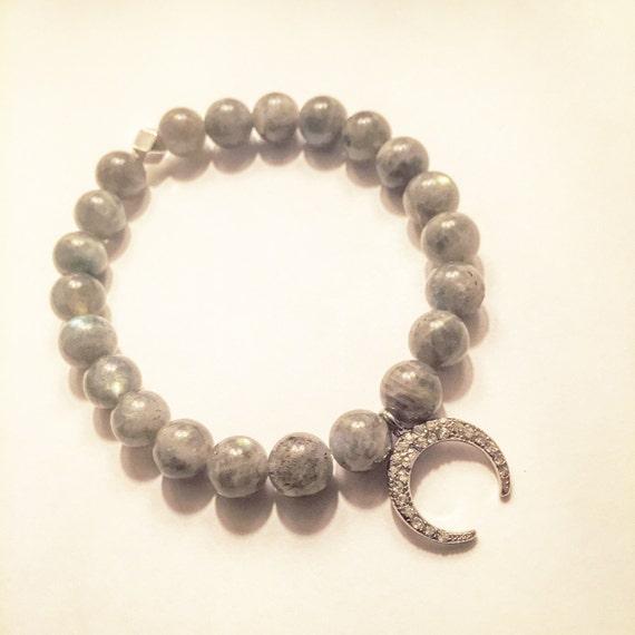Labradorite and Pave Crescent Moon Bracelet