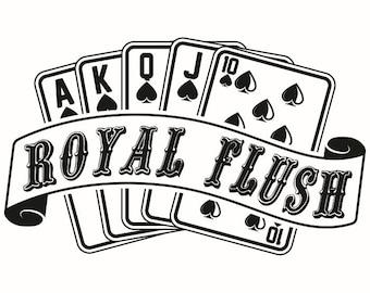 Royal Flush #2 Banner Playing Cards Gambling Casino Betting Poker Games .SVG .EPS .PNG Digital Clipart Vector Cricut Cut Cutting Download