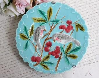 Vintage French Barbotine Plate - Decorative Bird Motif Plate - Sarreguemines