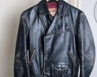 SUMMER SALE! * STAGG Rare 1960s Black Leather Biker Jacket / Size S / Real Vintage / 100% Original / Lightning Zippers