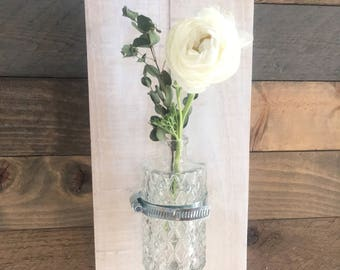 Antique Glass and Reclaimed Wood Wall Vase (Bud Vase)