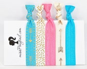 Hair Ties ~ 5 Pack Gold Arrows, Gold Dots, Pink, Blue Handmade Trendy Ponytail Holders Knotted Stretchy Elastic FOE Yoga Hair Ties
