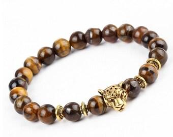 Leopard Bead Bracelet / Tiger Eye Stone Brown