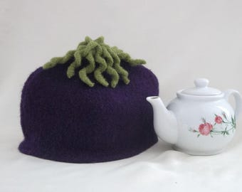Tea Cozy, Eggplant Tea Cosy, Purple Knit Tea Cozy, Felt Tea Cozy, Boiled Wool Tea Cosy with Green Embellishments