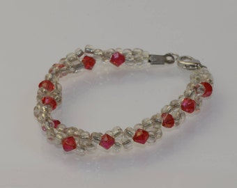 Bracelet red and clear
