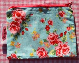 Blue Floral Zipper Pouch