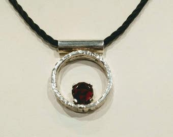 Modern circle necklace, garnet necklace, thick circle necklace, sterling silver necklace, garnet pendant, modern jewelry, red necklace