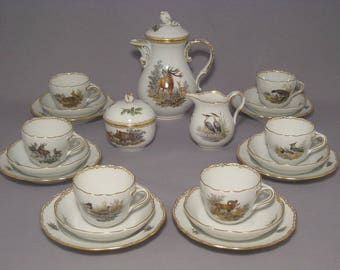 Meissen set of espresso for 6 people by Ridinger