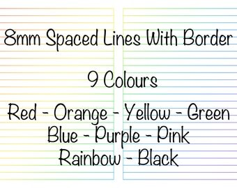 A5 Book lined pages pack - 8mm spaced - Bordered - 9 colours