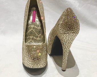 Custom Swarovski Crystal Strassing Service - Shoes Stilettoes Pumps Heels - Prom Bridal Party Drag Burlesque Dance Wedding - Bespoke