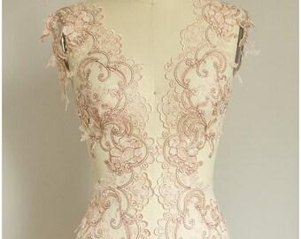 2x 1 yard mirrored ROSÈ GOLD flower lace Trim, Bridal Lace, Flower Lace, Lace Embroidery, Alencon Lace Trim, Wedding Lace (CLT310321)