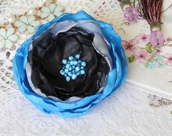 flower pin, flower brooch, satin flower, textile flower, handmade flower, beautiful flover, pink flover, blue brooch, blue pin, original pin