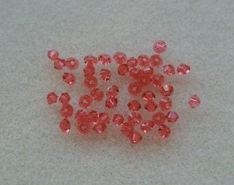Swarovski Crystal Xilion Bicone 3mm Padparadscha 48 Beads