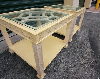 ON HOLD--Pair of Fretwork Side Tables | Palmbeach style | Chinoiserie Chic