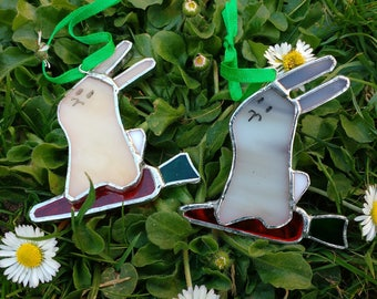 Easter decoration, Stained glass rabbit with carrot.