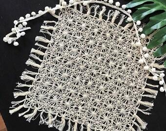 MACRAME Style Table Runner  / 1970's Cotton Fringe Table Cloth  / Boho Bohemian