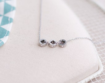 Three Monogram Zirconia Pendant Necklace Stainless Steel 17inch Silver or Rose Gold Plated 18K For Her For Mom Bridesmaid
