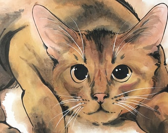 Chinese Painting of Cat, Ink Painting, Original artwork.