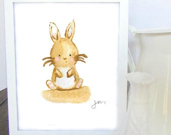 CLEARANCE < Brown Bunny Watercolor Print > CLEARANCE