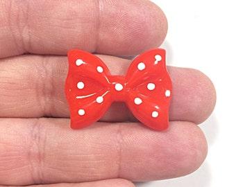 Red Kawaii polka dot bow cabochons