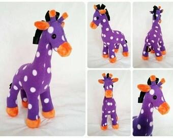 PLUSH giraffe, giraffe teddy, purple giraffe, giraffe, polkadot giraffe, orange giraffe, funky giraffe, spotty giraffe