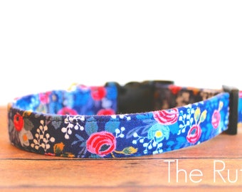 "Rifle Paper Collar, Girl Dog Collar, Vintage Collar, Dog Collar, Floral Collar, Rifle Paper Fabric, Buckle Dog Collar ""The Ruth"""