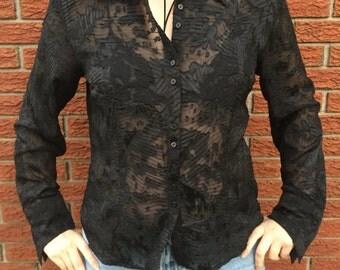 Vintage 90s Puli Black Textured Detailed Blouse Size 16