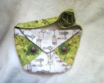 Wine Purse-Corkscrew /Green Grape Bag