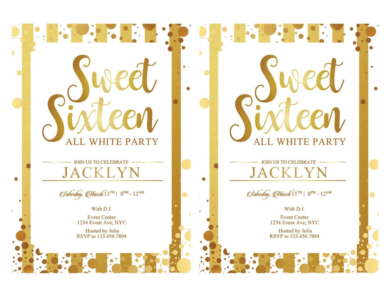 Sweet 16 Invitations, Printable Sweet Sixteen Invitations, White ...