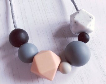 Silicone teething necklace, 'Rachel' Nursing, Babywearing, Breastfeeding, New Mum Gift, Baby Shower Gift, statement, modern, jewellery
