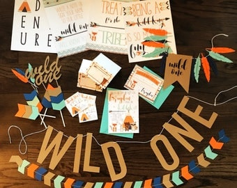 Wild One//Tribal//Animal//Woodland Birthday Party Package 2