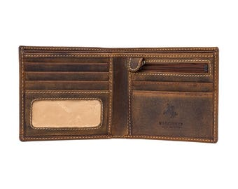 VISCONTI Leather Wallet - Oil TAN - Shield - 707 - Cash and Coin Holder - Card Case - Bi-Fold - Slim Wallet - Man Wallet