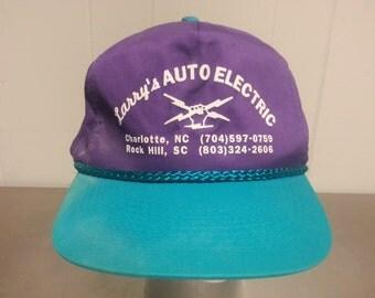 Vintage 90's Larry's Auto Electric Hornets Color Way Snapback Dad Hat Local Piece North Carolina