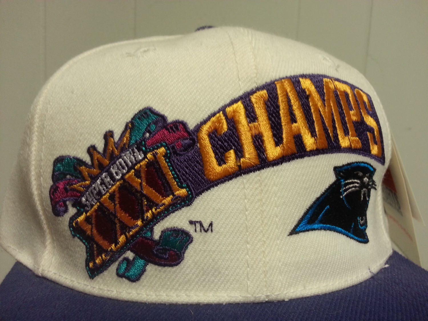 23c1b33a279 Deadstock Vintage 90 s Carolina Panther Superbowl XXI Champs Mistake Sports  Specialty Snap Back Hat NWT NFL