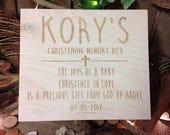 Christening box Baptism memory box Time capsule box Baby memory box keepsake box wood custom memory box rustic wooden keepsake box