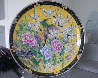 Beautiful Large Vintage Oriental/Asian Yellow & Black Bird Crane Display Plate - Gold Gilding