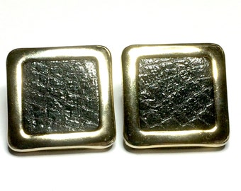 Vintage 1980's Leather Gold Tone Geometric Earrings