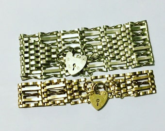 Large heavy silver gate bracelet