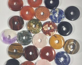 Assorted Gemstone Donut Pendants