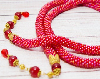 lariat necklace, y necklace, bar drop necklace, red, lariat red