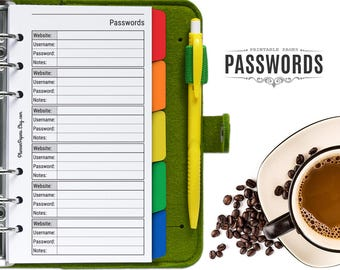 Personal Size Printable Password Log Keeper - Filofax Password Organizer Refill, DIY Password Tracker PDF Insert for Kikki K Binder Planner
