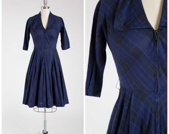 SALE! Vintage 1950s Plaid Dress